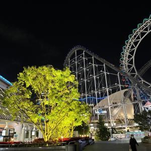 静かな夜の後楽園ゆうえんちと東京ドーム