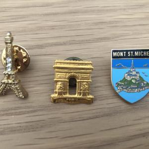 フランス・イタリア旅行のお土産ピンバッジ
