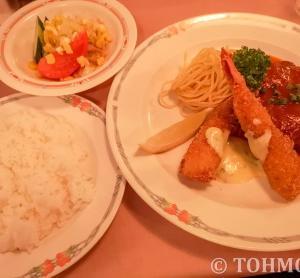 【福岡・香椎】懐かしい味のハンバーグと海老フライのランチ