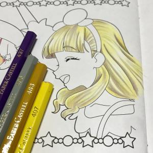 メイキング 色鉛筆で髪の毛(明るい金髪)を塗るの巻