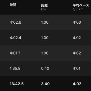 ペース走(4:05/km)
