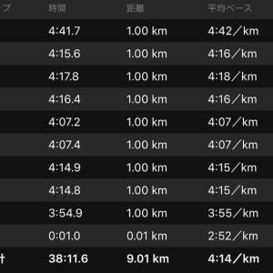 """ペース走 9km(4'15""""/km)NB HANZO R V2"""