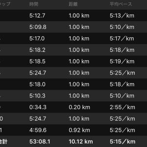 ジョグ10km+ws×1(ナイキ オデッセイリアクト)
