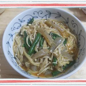 【料理】レンジ加熱で!いんげんコンニャクえのきを麻婆豆腐の素で(料理名はひねり出せず…)