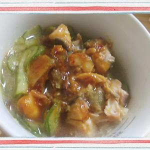 【料理】キュウリ輪切りとサバ缶の酢味噌和え(酢味噌がなければ別の味付けも)