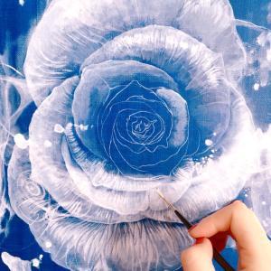 バラの油彩⑤ 制作過程