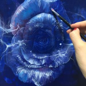 バラの油彩   制作過程⑨
