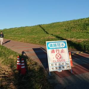台風19号の影響で遊水地の畑が水没・・・