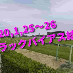 2020,1,25~26 トラックバイアス結果 (中山競馬場、京都競馬場、小倉競馬場)