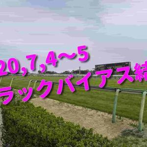 2020,7,4~5 トラックバイアス結果 (福島競馬場、阪神競馬場、函館競馬場)