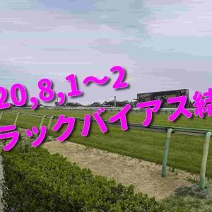 2020,8,1~2 トラックバイアス結果 (新潟競馬場、札幌競馬場)