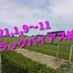 2021,1,9~11 トラックバイアス結果 (中山競馬場、中京競馬場)