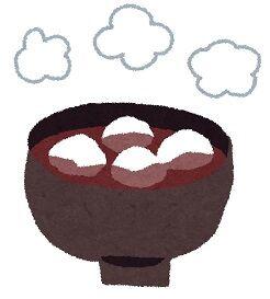寒いので温かいお汁粉、栗の甘煮入り