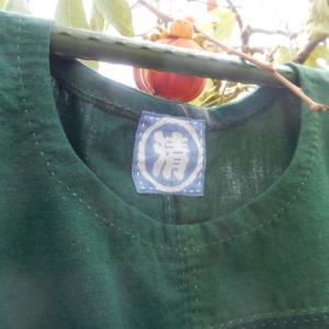 緑木綿の接ぎワンピース