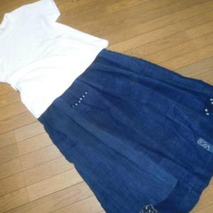 藍のギャザースカート〜〜〜♪