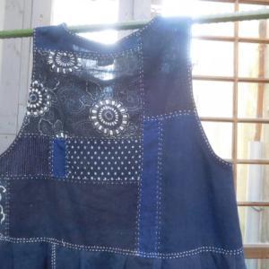 型染ハギレと藍無地のGスカート