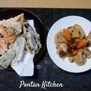 圧力鍋で筑前煮+天ぷら