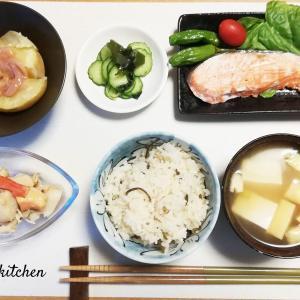 うちのとある日の焼き魚定食(鮭編)