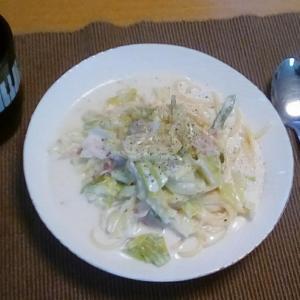 残り野菜と生クリームでクリームパスタランチ