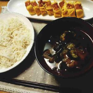 ナスと豚肉で☆あったか素麺つけ汁