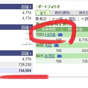 【株式投資ブログ】トヨタ株価急上昇とうとう含み益に?
