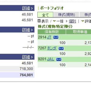 【6月末権利確定】株式投資保有銘柄チェック6月20日JT100株と