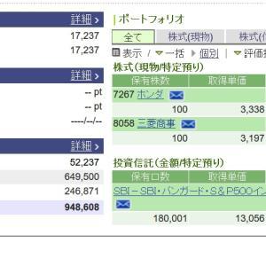 【日経平均株価】3月18日個別株とS&P500インデックスファンド