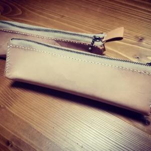 革のファスナー付きペンケースの作り方