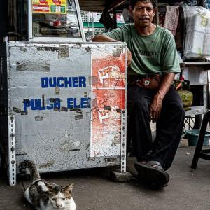猫と一緒に携帯SIMを売る男 (インドネシア)