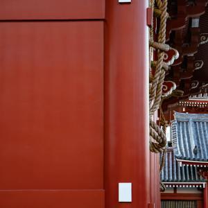 宝蔵門に掲げられた草履を眺める参拝客 (東京)