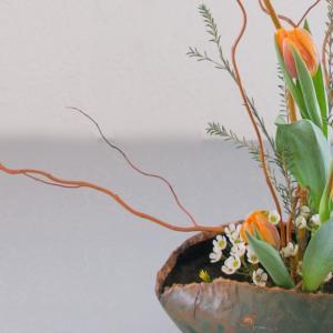 いけばな|生徒さん作品|雲龍柳で花意匠たてるかたち