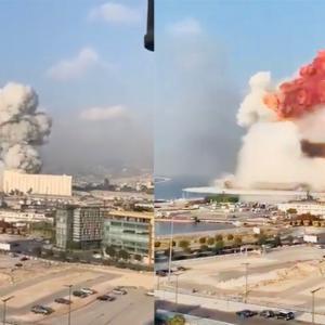 レバノン・ベイルートで爆発・原爆のようなキノコ雲