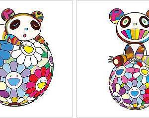 村上隆 版画『お花の玉の上にて、パンダの子供がすやすや。寝ています。』等