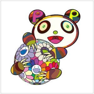 """村上隆新作版画 """"お花の玉に抱きついている子供のパンダ。"""""""