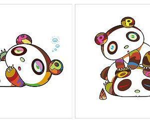 村上隆 新作版画 「パンダちゃん、眠い眠い。」「パンダちゃん。ホヨヨ、スヤスヤ。」