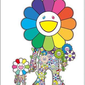 村上隆新作ポスター「お花の親子」(エディションサイン入り)