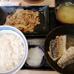 やっちゃった 東中野 吉野家 牛皿&炙り塩鯖 W定食