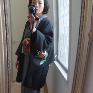 黒絵羽織と短い名古屋帯