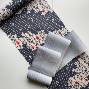 【 着物コーディネート 】グレー桜の柄のシックな浴衣