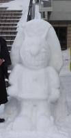 アンパンマンとバイキンマンの雪像☃