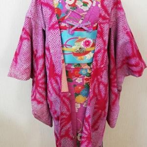 華やか着物を着ておきたい1月。毬やら梅やらその他諸々の派手柄着物&麻の葉柄絞り羽織コーデ♪