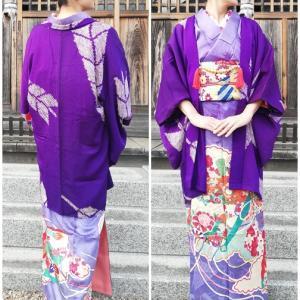 着物100円、羽織300円(笑)の礼装ぶち込み、ちょいとシック系?コーデの着姿。
