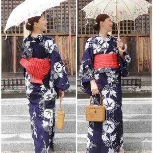 昭和の綿コーマ朝顔柄浴衣&博多半幅コーデで行く、サイタマ、謎のツアー(笑)