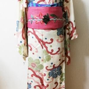 波に鉄線、桔梗、撫子の柄の夏着物&秋草刺繍帯コーデ♪