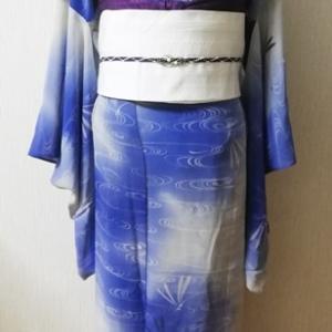 幻想的な流水にスタイリッシュ?蜻蛉柄のジョーゼット着物&真っ白博多帯コーデ。