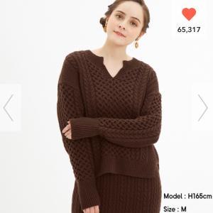 【プチプラファッション】GU ケーブルキーネックセーター