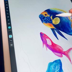 【魚アート】AdobeFrescoで海水魚の水彩画にチャレンジ!