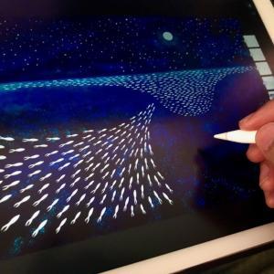 【デジタルイラスト】AdobeFrescoで月夜の大海原を描いてみた!