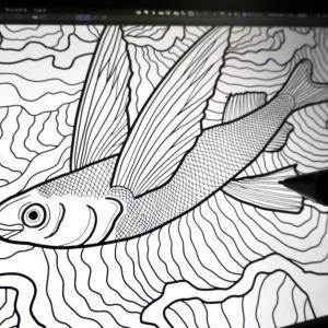 【デジタルイラスト】オリジナルグッズ用にトビウオを描いてみた
