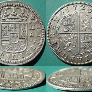 両面紋章コイン・スペイン 2real 1723A
